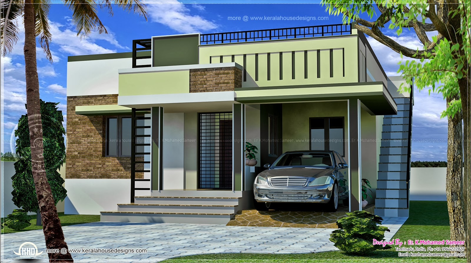 110 square meter small single floor home kerala home for Indian house front elevation photos for single house