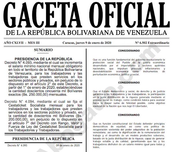 PDF Gaceta Oficial Extraordinario 6.502 incremento de Salario Minimo + Cestaticket