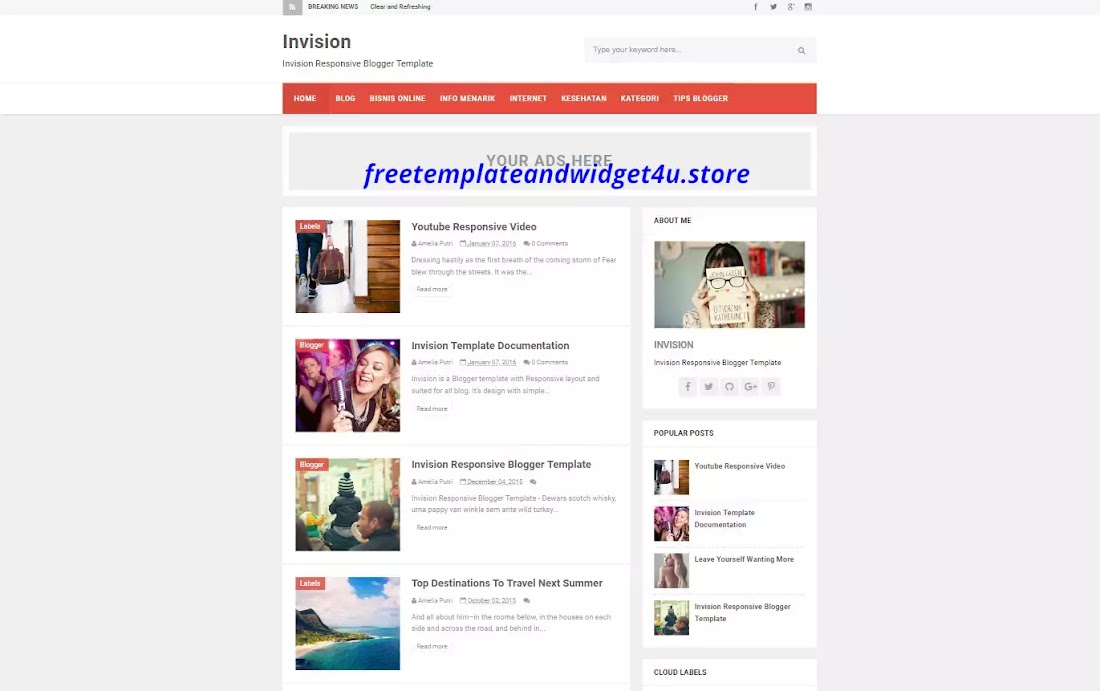 Invision Pro Blogger Template Free Download.