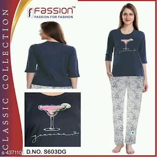 Ladies Cotton Hosiery Night Suit
