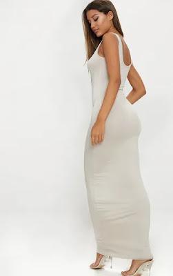 Stone basic maxi dress back side