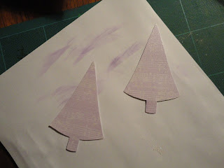 Purple embossed tree shapes