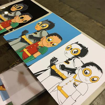 "C2E2 2017 Exclusive Batman & Robin ""Flynamic Duo"" Screen Prints by Hebru Brantley x Vertical Gallery"