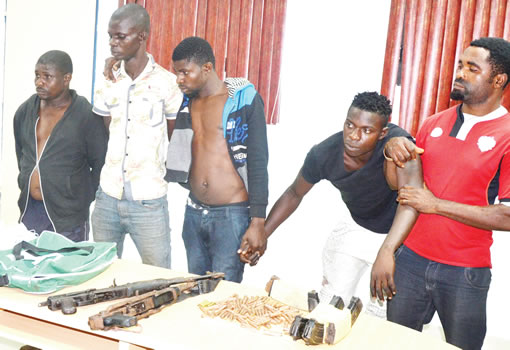 Police parade suspected snatchers of Rivers poll materials