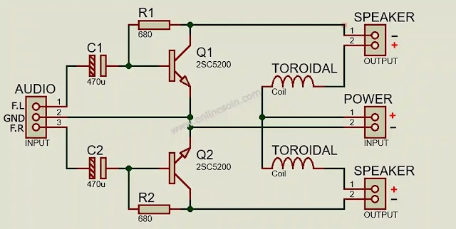 Powerful Stereo Heavy Bass Amplifier with Transistor 2SC5200 CIRCUIT DIAGRAM.