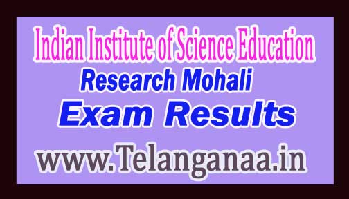 Indian Institute of Science Education & Research Mohali Ph.D Programme Mathematical Sci 2017 Exam Results