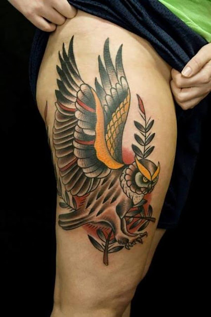 owl leg tattoo