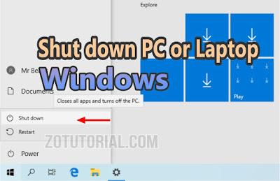 2 Cara Mematikan Komputer PC dan Laptop windows yang benar