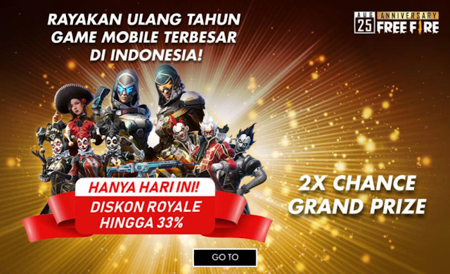 Diskon 33% Semua Royale Event Peak Day 2nd Anniversary Free Fire