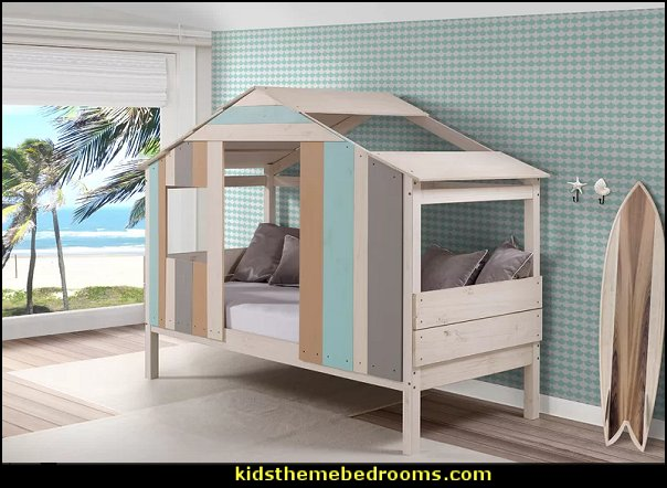 beach shack bed surfing bedroom furniture  beach surf themed bedroom ideas - surfer girl themed bedrooms - surf decor for bedroom  - beach theme bedrooms - surfer girls - girls surfing themed bedroom ideas - surfer boys - surfing themed bedroom decorating ideas - beach bedrooms - raffia valance window ideas - 3d wall decorations - surfing decor - surfer girls surfing bedrooms surf bedding -  coastal living style -