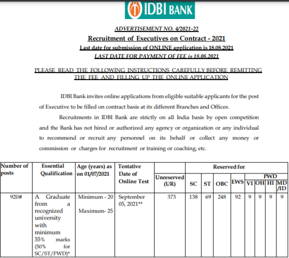 IDBI Executive Recruitment 2021 Apply Online