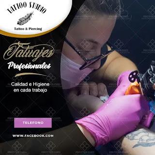 plantilla de anuncio para promocionar y buscar trabajo de tatuadora