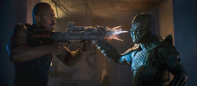 "MEHCAD BROOKS como Major Jackson ""Jax"" Briggs e JOE TASLIM como Sub-Zero/Bi-Han em ""Mortal Kombat,"""