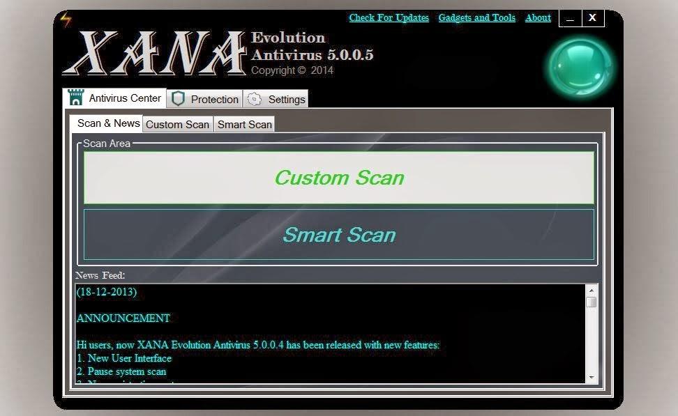 برنامج مجاني لمكافحة الفيروسات والبرامج الضارة XANA Evolution Antivirus 5.0.0.6