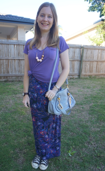 lilac tee knotted over purple feather print maxi dress with converse Chloe small paraty bag in periwinkle blue | awayfromtheblue