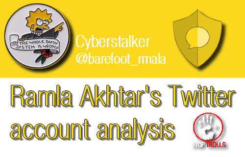 In this article we will review the Twitter production of the account currently being @barefoot_rmala after having been @barefootRamster for the period July 22, 2015, to November 23, 2019. Through her 2 681 tweets, we will identify how Ramla Akhtar turned this social media into a main cyberstalking weapon with a complete impunity.
