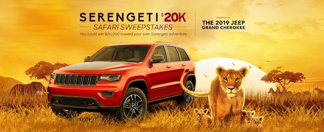 Discovery and Jeep want you to enter daily for a chance to win TWENTY THOUSAND DOLLARS CASH so you can take off on a Serengeti Safari Adventure Trip!