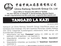 Ajira Tanzania: New Jobs At l1China Railway Seventh Group Co. Ltd (CRSG)