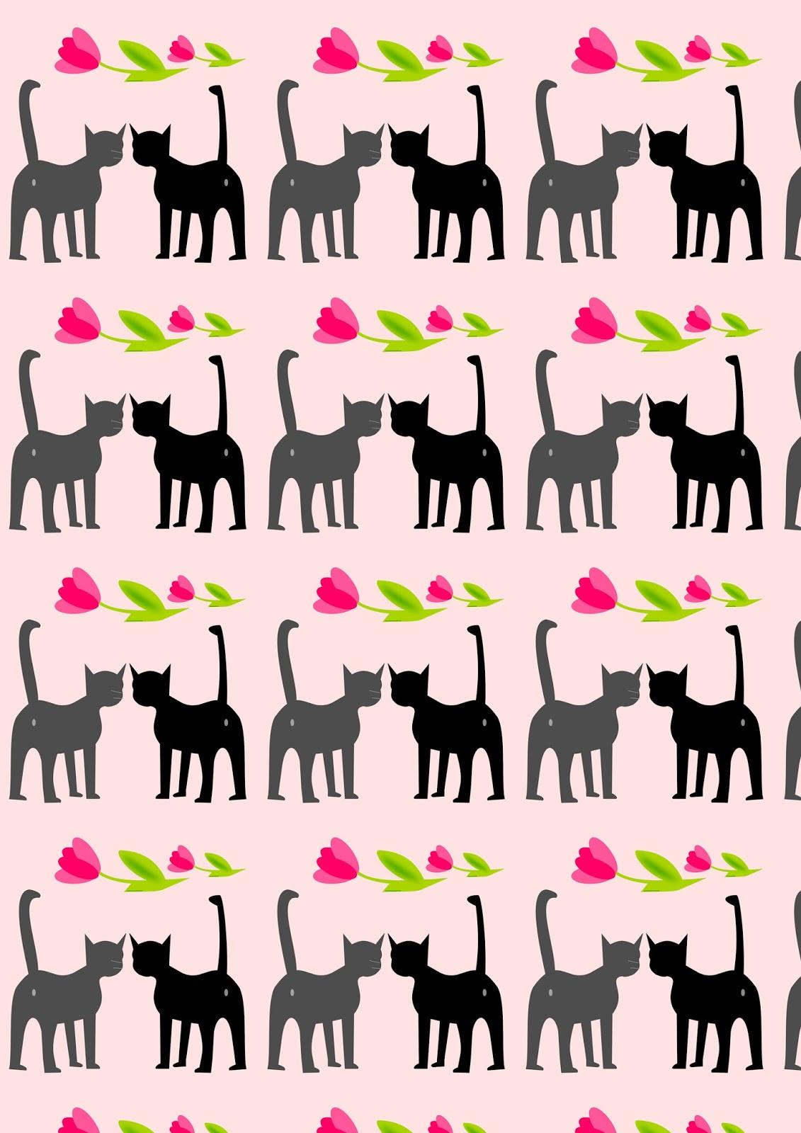 Free Digital Cat Valentine Scrapbooking Paper