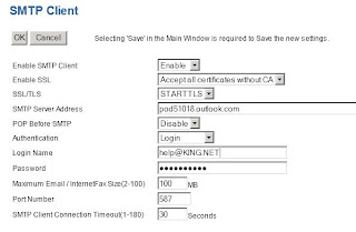 Office365 Setting to scan-to-email