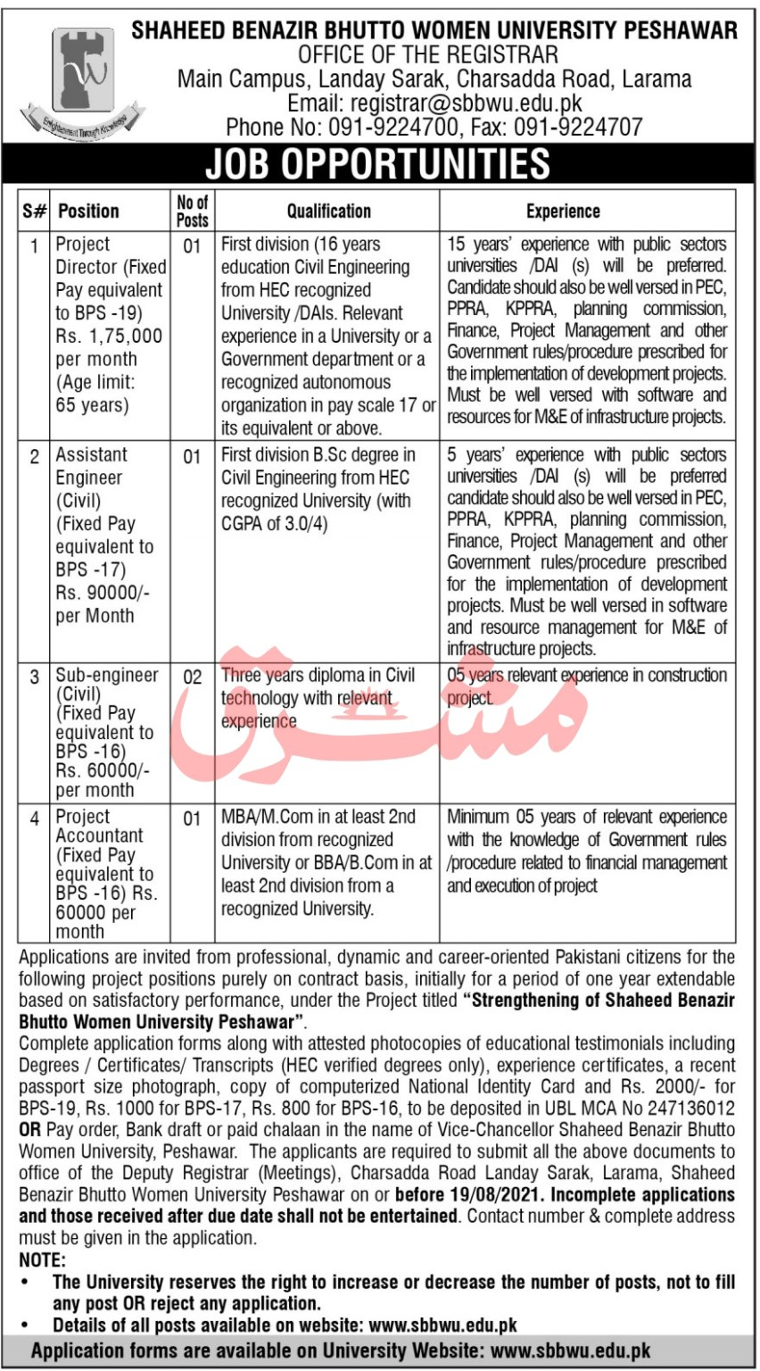 www.sbbwu.edu.pk Jobs 2021 - Shaheed Benazir Bhutto Women University Peshawar Jobs 2021 in Pakistan