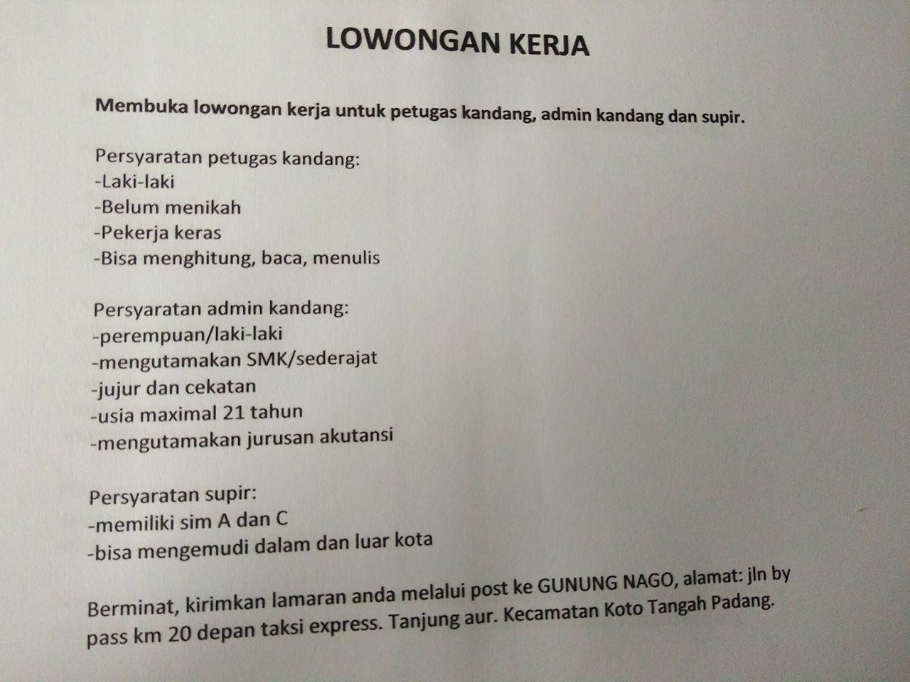 Lowongan Kerja di Padang – Usaha Peternakan Gunung Nago – 3 Posisi (Januari 2017)