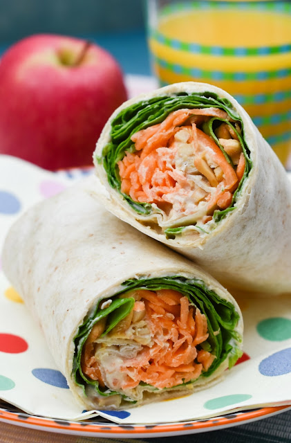 Carrot & Spinach Crunch Lunch Wrap on a spotty napkin