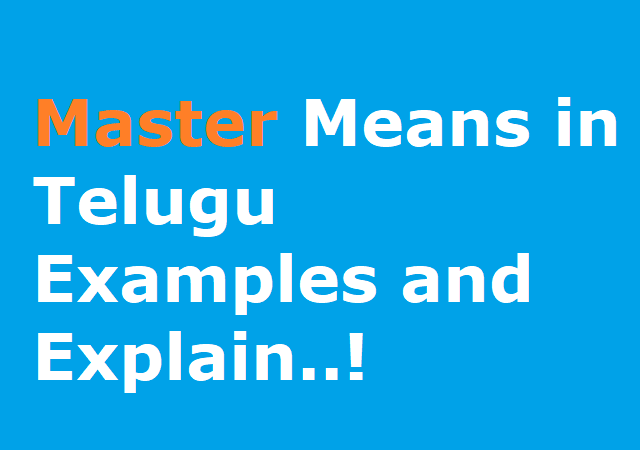 Master Means in Telugu Examples and Explain