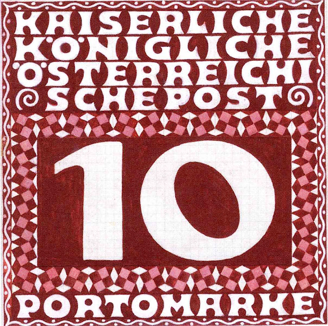 a Koloman Moser postal stamp design 1900?