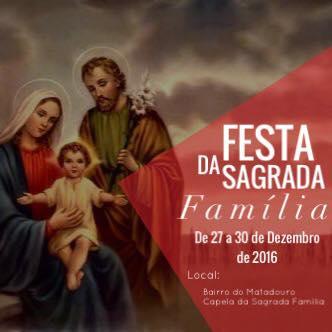 Confira a programação da festa da Sagrada Família 2016 do Bairro do Matadouro em Umbuzeiro