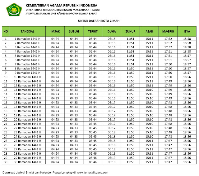 jadwal imsakiyah ramadhan buka puasa Kota Cimahi 2020 m 1441 h tomatalikuang.com
