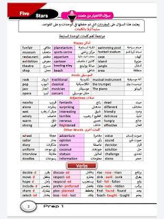 مراجعة كتاب فايف ستارز في اللغه الانجليزيه للصف الاول الاعدادي الترم الثاني مارس 2021