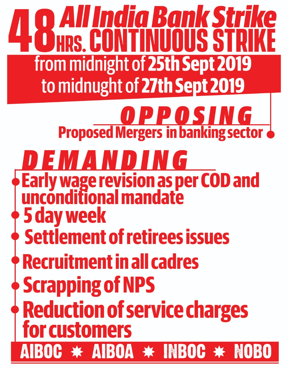 48 Hours Continuous Strike from 25th Midnight to 27th Midnight in September 2019