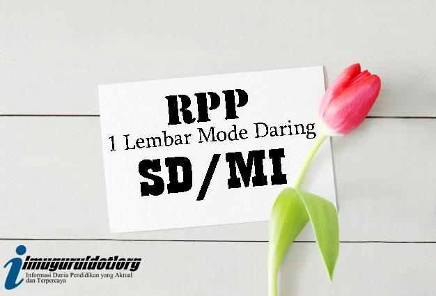 RPP 1 Lembar Mode Daring Kelas 5