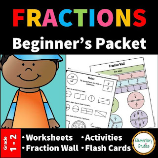 Fractions for Grade 1, Fractions worksheets and activities covering Equal, Unequal, Halves, Thirds and Fourths.
