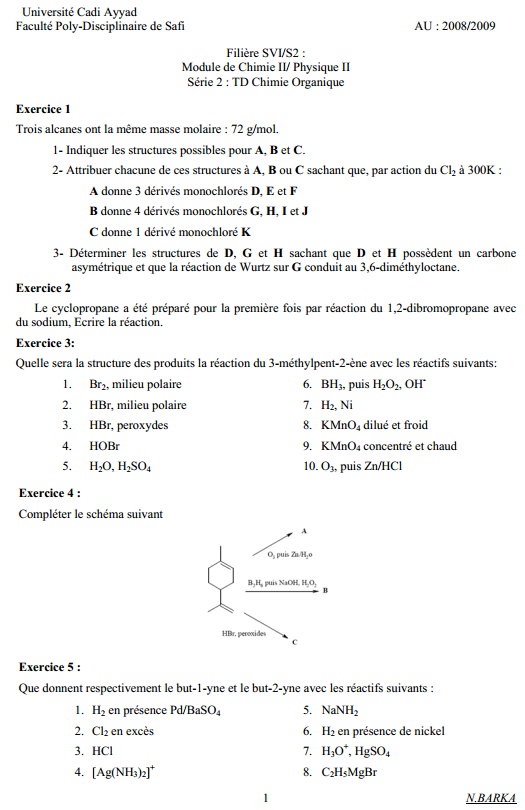 exercices corriges chimie organique exosup