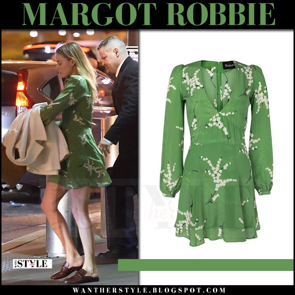 Margot Robbie in green mini dress realisation what she wore april 2017