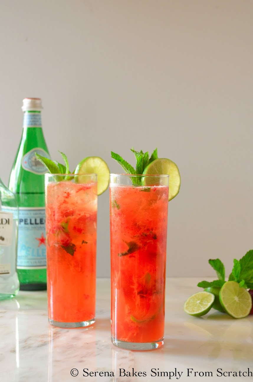 A summer time favorite cocktail Strawberry Mojitos.