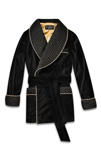mens black velvet smoking jacket quilted silk robe dressing gown