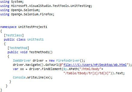 WebDriver Find XPath