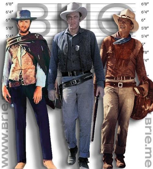 James Arness, Clint Eastwood, and John Wayne height comparison