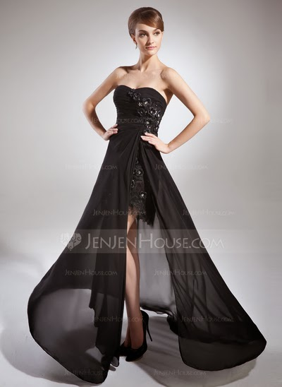 A-line chiffon train black prom dress