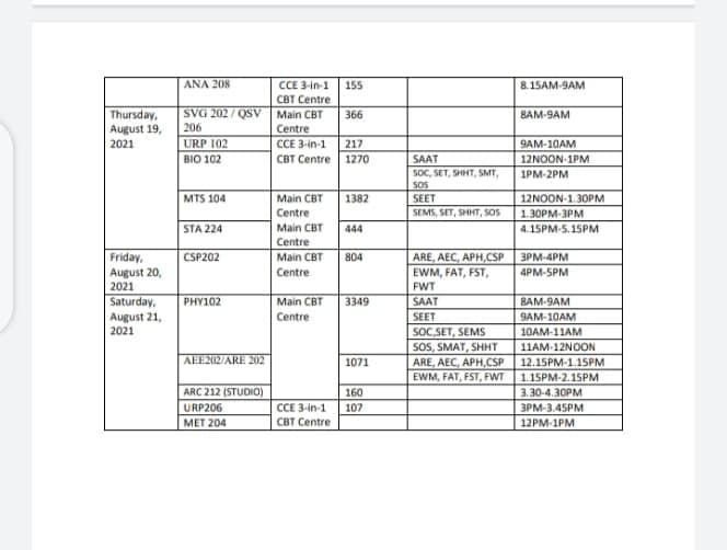 FUTA CBE Final Exam Timetable 2nd Semester 2019/2020