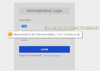 Pesan error pas login mengunakan exploit bypass