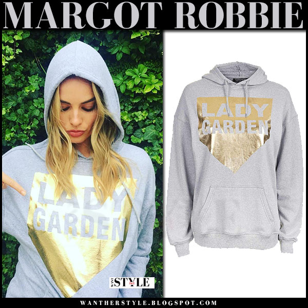 Margot Robbie in grey gold print hoodie topshop lady garden what she wore