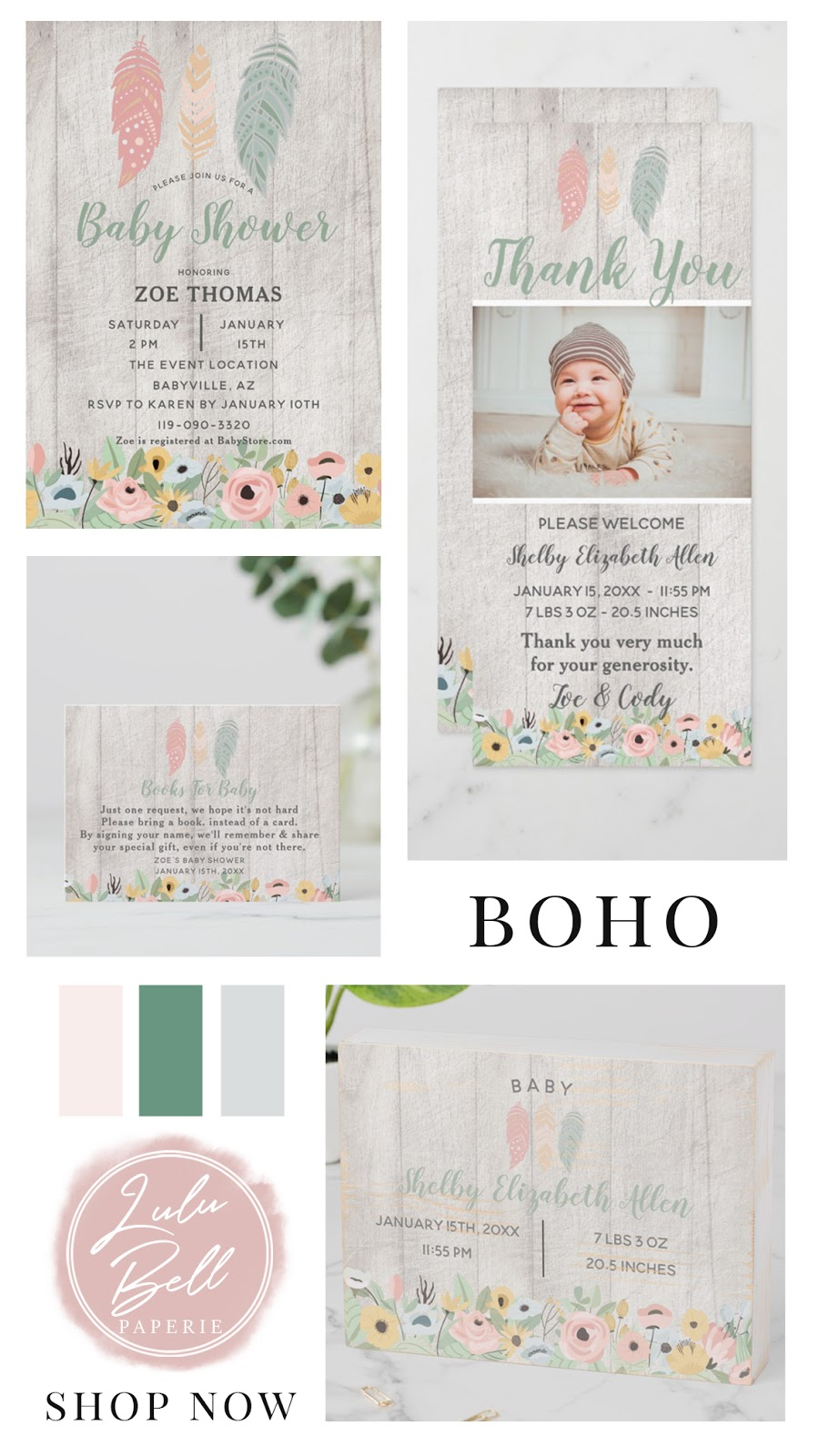 Coordinating Collection of Boho Baby Nursery Decor, Shower Invitations Party Suite, and Paint Color Palettes for Your Baby Girl. With Feathers, Deer, Flowers, Wood, and Birds. In Pink, Blush, Green, and Pale Gray,