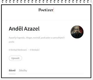 Profil Anděla Azazela na sociální síti pro básníky Poetizer
