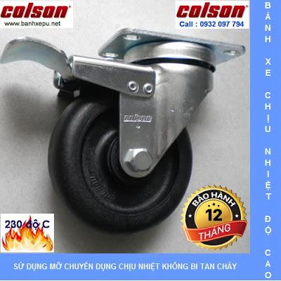 Bánh xe nhựa chịu nhiệt Colson 3 inch xoay khóa | A2-3346-52HT-BRK4 banhxedayhang.net