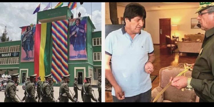 La Anapol con banderas y símbolos indígenas; a la derecha, Mendoza regala un sable de oro al entonces presidente Morales / ANAPOL ARCHIVO