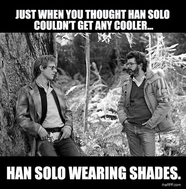 Han Solo in Shades Return of the Jedi - Friday Frivolity Star Wars edition, via Devastate Boredom - funny memes and video clips!